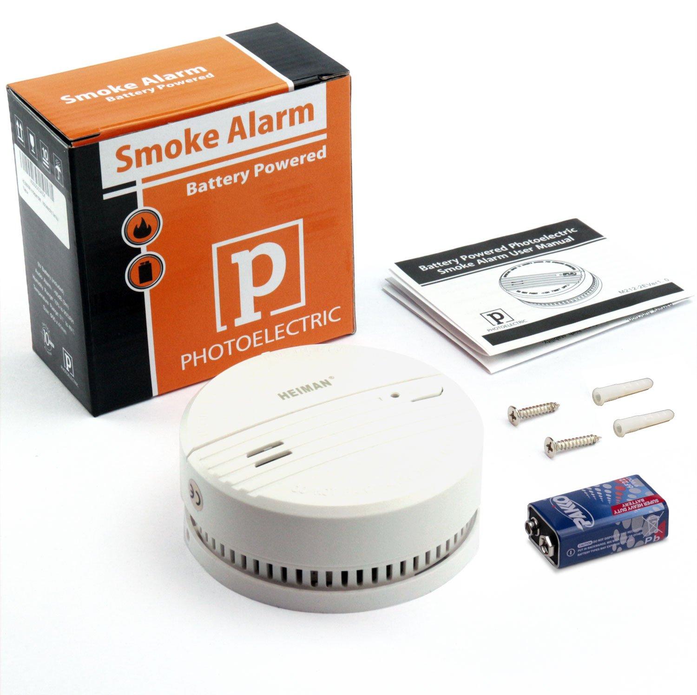 heiman 3 años Detector de humo (con indicador LED y fotoelektrischen Sensor - Color Blanco - 2 Unidades): Amazon.es: Bricolaje y herramientas