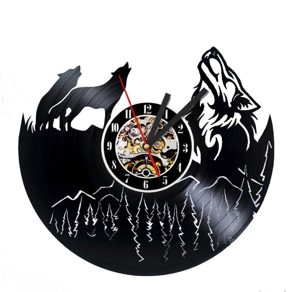 Wolf Vinyl Record Designed Wall Clock