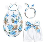 Younger Tree Baby Girls Halter Backless Bowknot Ruffle Romper Toddler Floral Shorts Outfits Set +Headband (Blue, 6-12 Months)