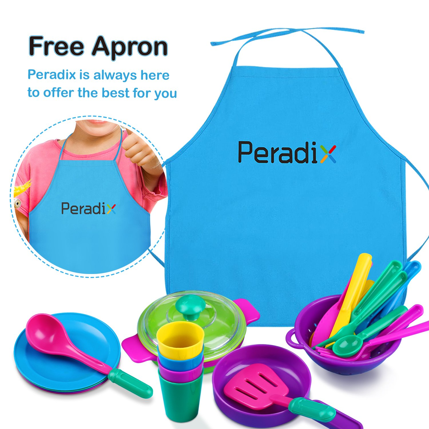 Toys Dishes Play Kitchen Accessories Set Pots and Pans Cups Toys Cookware Tableware for Toddlers Pretend Role Play with Apron & Storage Bag by Peradix