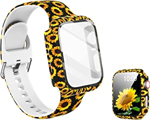 Compatible with Apple Watch Band 42mm with Screen Protector Case, Women Girl Pattern Printed Glass Screen Protector and Replacement Silicon Wristband Strap for iwatch Series 3 2 1 Accessories