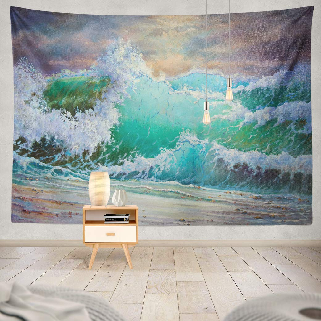 """threetothree 80"""" W x 60"""" L Tapestry Wall Hanging Interior Decorative Wild Big Storm Sea Waves Heaven Seascape Oil Canvas Art Gallery Collection for Bedroom Living Room Tablecloth Dorm"""