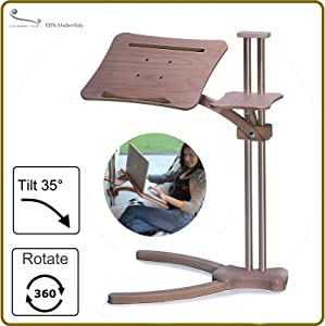 Lounge-Wood Classic - Laptop Table Supports up to 17-18 inch Laptops, Tablet PC, Ipad, Lectern for E-Book. Mousepad for External Mouse.
