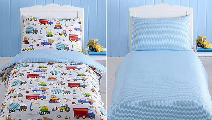 Kidz Club Bright Trucks Junior Duvet Cover And Pillowcase Set Reversible Quilt Digger Amazon Co Uk Kitchen Home