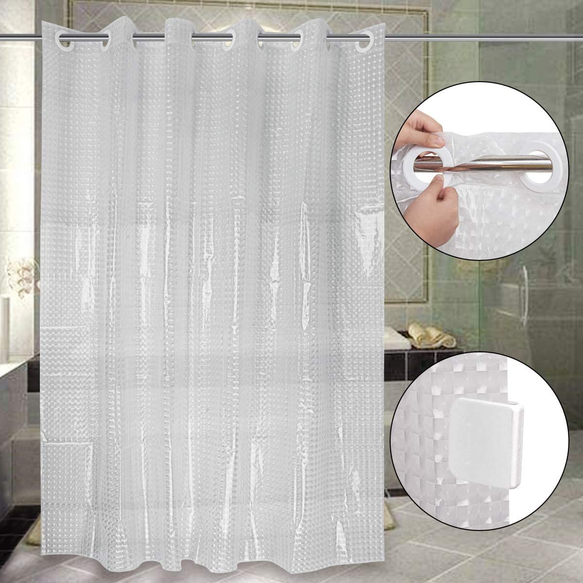 "Top Quality 70.87"" PEVA Waterproof Mildew Resistant Bath Shower Curtain w//Hooks"