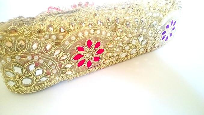 1 Yard Latest Indian Golden Zari Thread and Colour thread work Lace Trim Ethnic