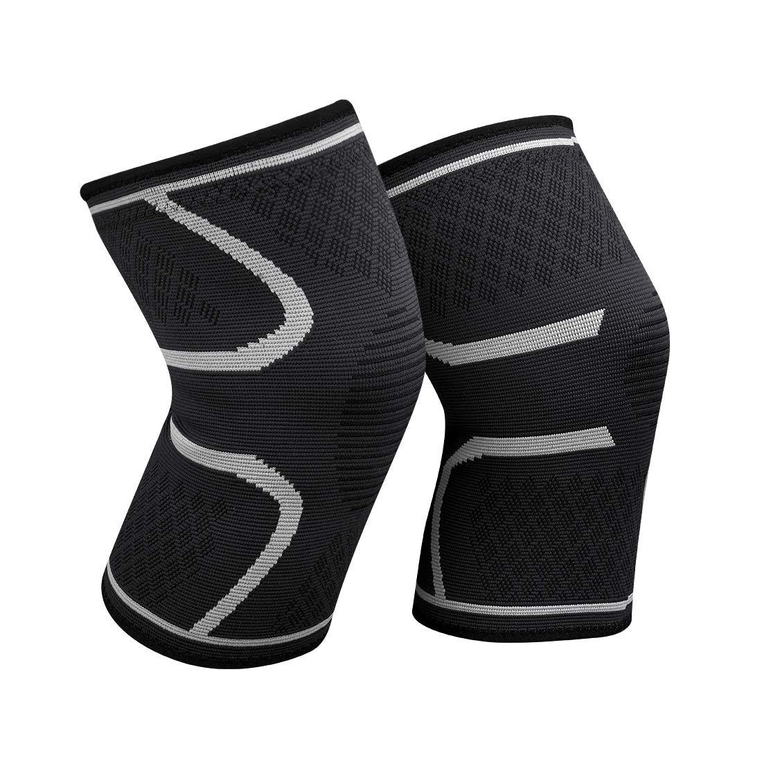 WATERFLY Knieschoner, Anti-Rutsch-Breathable Elastic Compression Kniestütze Sport Knieschützer für Den Lauf Basketball Arthritis Schmerzlinderung Relief 2 PCS