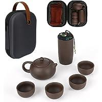 WIOR Juego de té portátil, tetera de cerámica hecha a mano con funda, juego de té Kung Fu, set de tetera pequeña con 4…