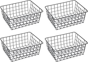 4 Pack Iron Storage Basket Stand Small Size For Home Office Metal Storage Organizer Basket (Black, 4)