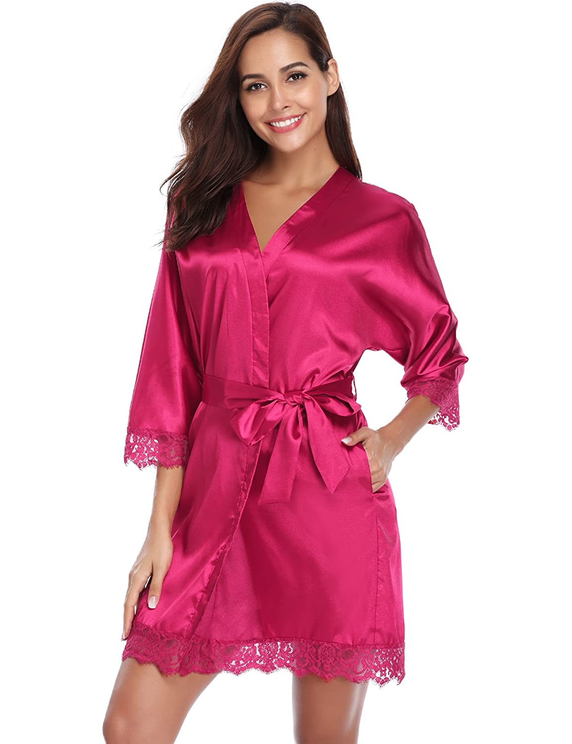 Aibrou Womens Robe, Satin Kimono 3/4 Sleeve Plain Nightwear Short Dressing Gown with Lace