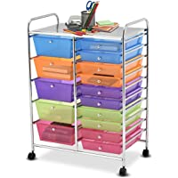 Deals on Giantex 15 Drawer Rolling Storage Cart Tools Scrapbook