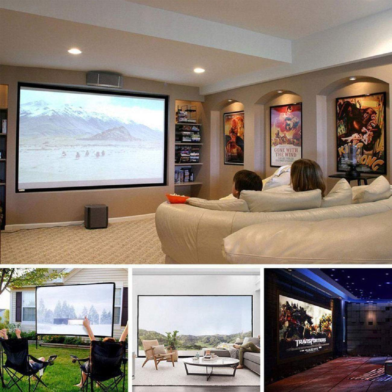 Kindsells Foldable Anti-Crease for Home Theater Indoor Outdoor Projector Movie Screen Projection Screens by Kindsells