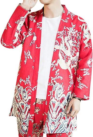 Jorich Hombres Vintage Japonés Kimono Camisa Estampado Holgado Cárdigan Hombre Camisa Kimono Estilo Japonés Hombres Camisa Japonés Cardigan Estilo Kimono Impresos (Rojo, 4XL Bust:145cm/57.09): Amazon.es: Ropa y accesorios