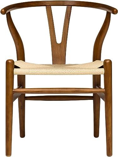 Hans Wegner Wishbone Style Woven Seat Chair Walnut