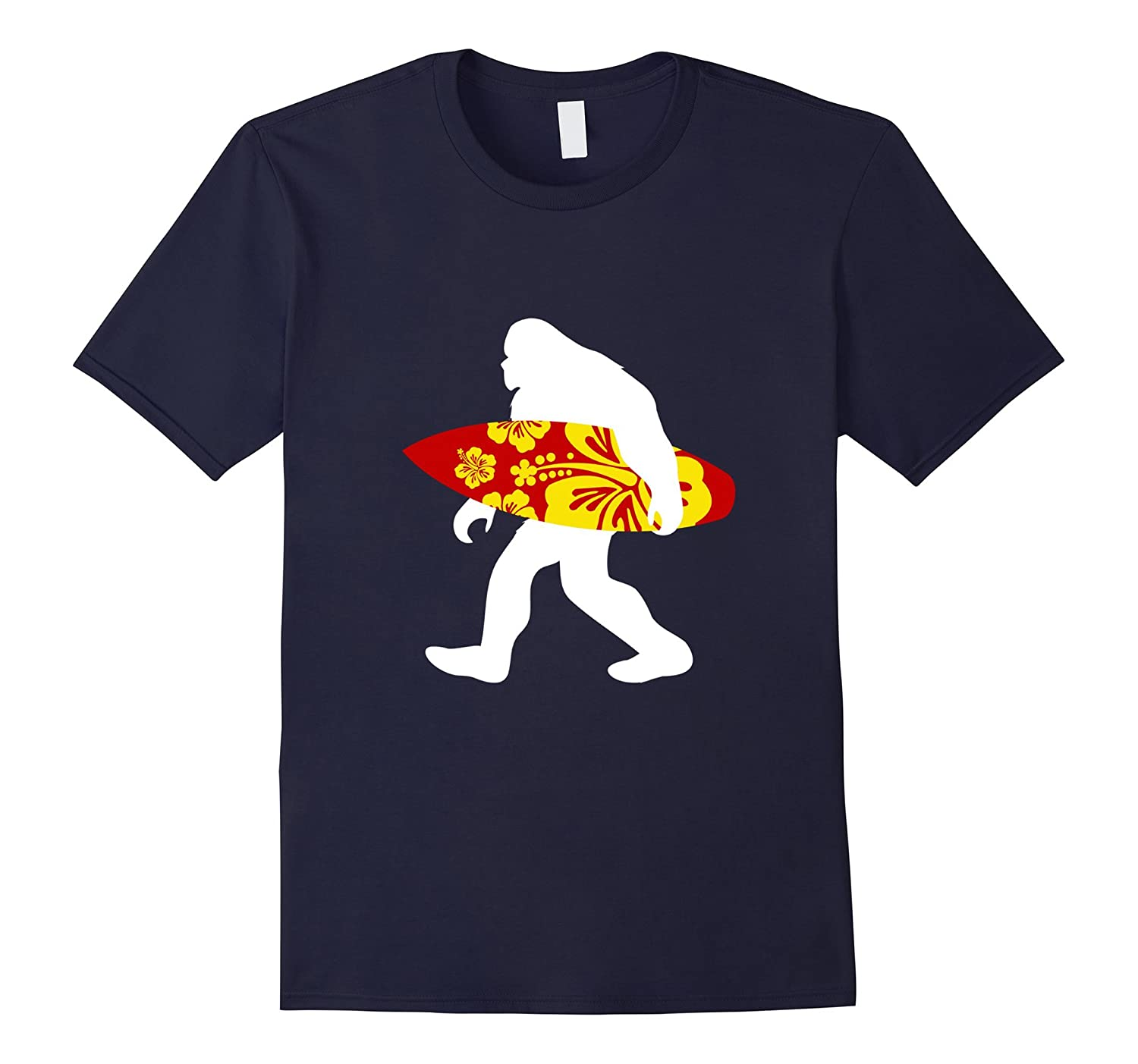Surfer Dude Bigfoot T-Shirt Holding a Surfboard Tshirt-TJ