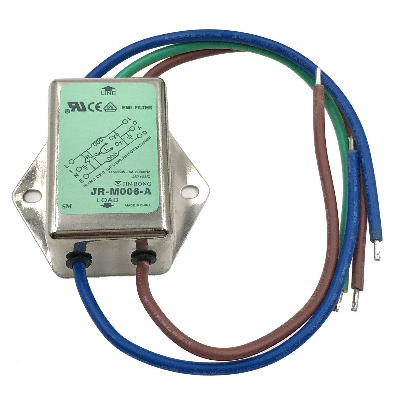 Noise Suppressor Power EMI Filter Termianl Single-Phase Line-Conditioner JREle AC 115/250V 6A JR-M006-A