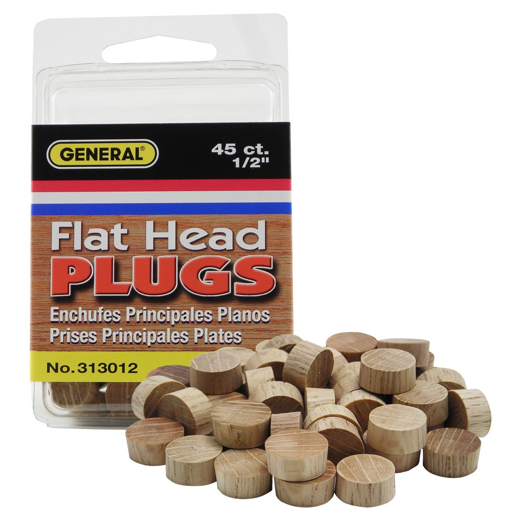 "General Tools 313012 Flat Head 1/2"" Oak Plugs, 50 ct"