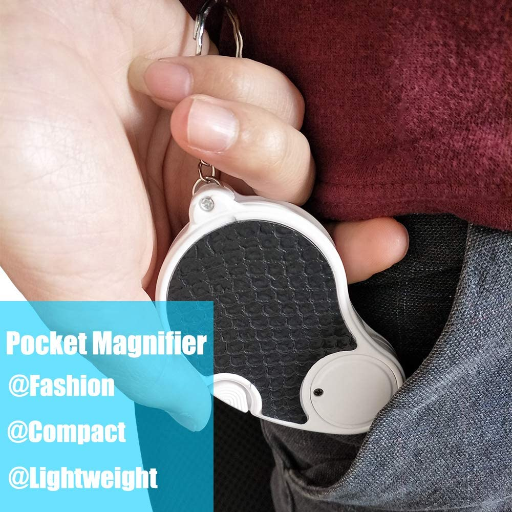45 Mm Diameter Flip Lens Lighted Magnifying Glass 5X Handheld Pocket Magnifier Small Illuminated Folding Hand Held Lighted Magnifier for Reading Coins Hobby Travel 2pcs Magnifying Glass With Light