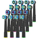 Black Replacement Brush Heads Compatible with Oral B Braun Electric Toothbrush Handles, Pack of 16 from ITECHNIK