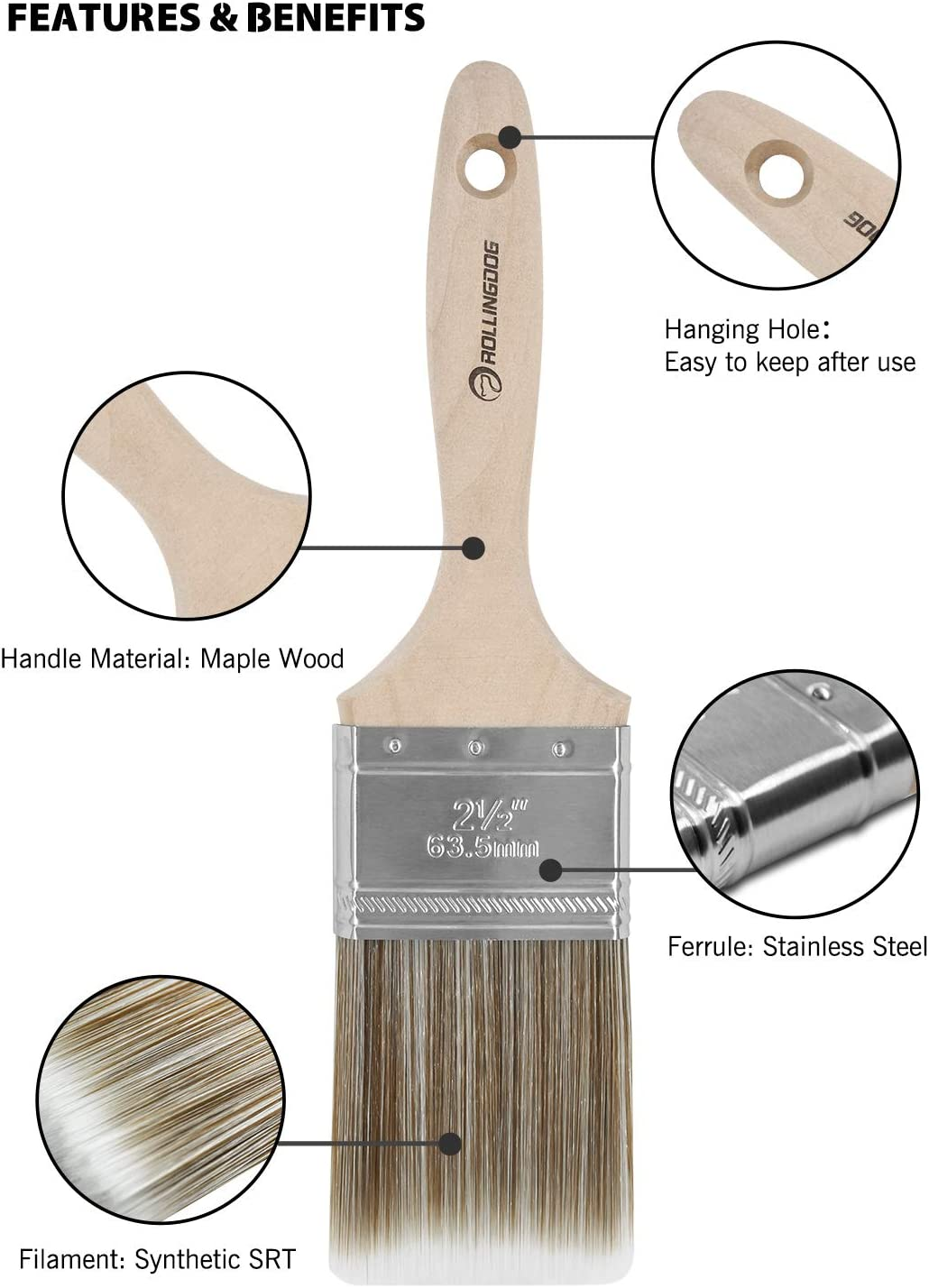 ROLLINGDOG 6PC 2.5 Paint Brush Set with Maple Wood Handle Stainless Steel Ferrule and Synthetic SRT Filament for Cutting in and Detail Painting
