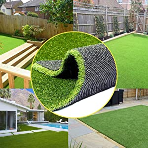 0.8inch Realistic Synthetic Artificial Grass Turf 4FTX7FT(28 Square FT) ,Thick Faux Grass Indoor Outdoor Landscape Lawn Pet Dog Turf Carpet for Garden Backyard Balcony