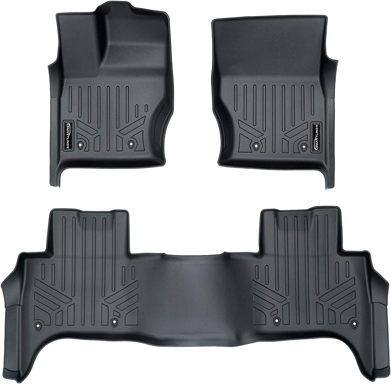 SMARTLINER Custom Fit Floor Mats 2 Row Liner Set Black for 2014-2019 Land Rover Range Rover Sport