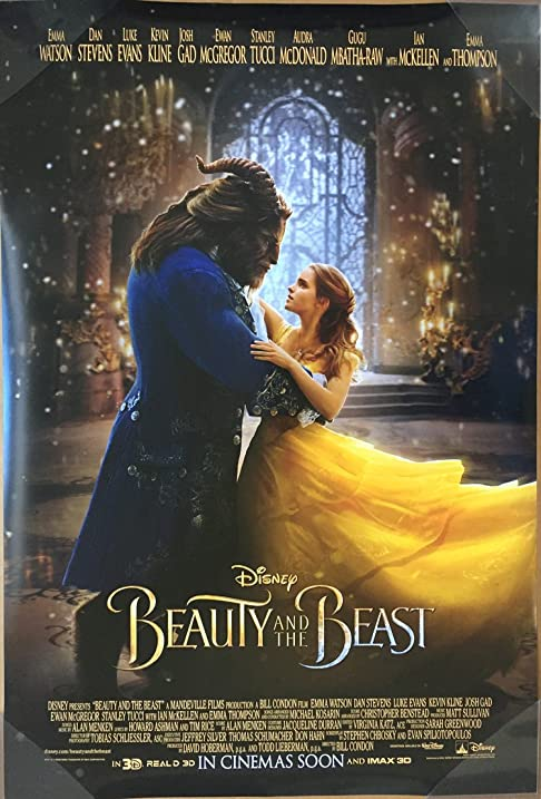 BEAUTY AND THE BEAST MOVIE POSTER DS ORIGINAL RARE DANCING 27x40 EMMA WATSON
