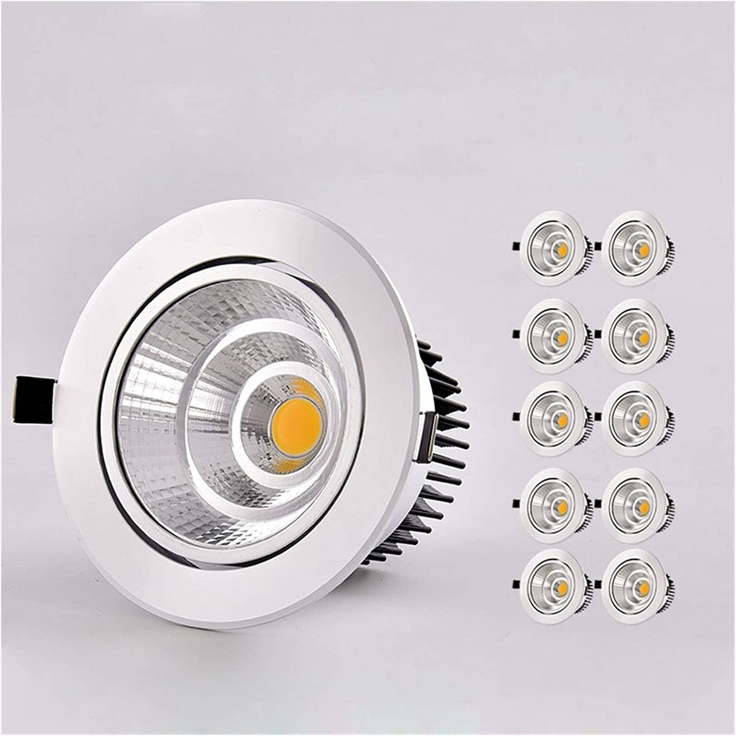 Body Color : White, Emitting Color : Cold White Tlwangl Downlight 10pcs//Lots LED Downlight Round Recessed Lamp 5W 7W 9W 12W 15W 20W 30W LED Dimmable Ceiling Lamp Spot Light for Home Illumination