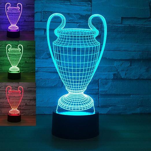 Jinson well 3d Trofeo de la Copa de futbol lámpara de mesa luz nocturna cambio de 7 colores LED luz de noche para Decor Regalo: Amazon.es: Iluminación