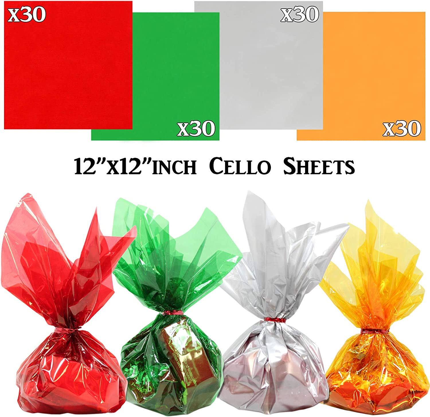 Crafts 12 x 12 inches Cellophane Sheets 120 pcs Pack | DIY Wrapping Holiday Mix Colors Translucent 2.3 Mil Quality Treats Anapoliz Gold Silver Green Red Christmas Colors Cello Sheets