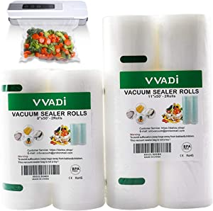 Food Saver Vacuum Sealer Bags Rolls 11 Inch for Food Storage, Seal a Meal Bags Food Saver, 2 Rolls x50'(total 100') Cut to any Size,BPA Free, 10C Thickness
