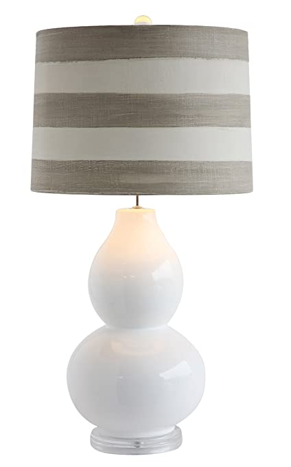 Creative Co Op DA6748 Cottage White Ceramic Table Lamp With Striped Linen  Shade