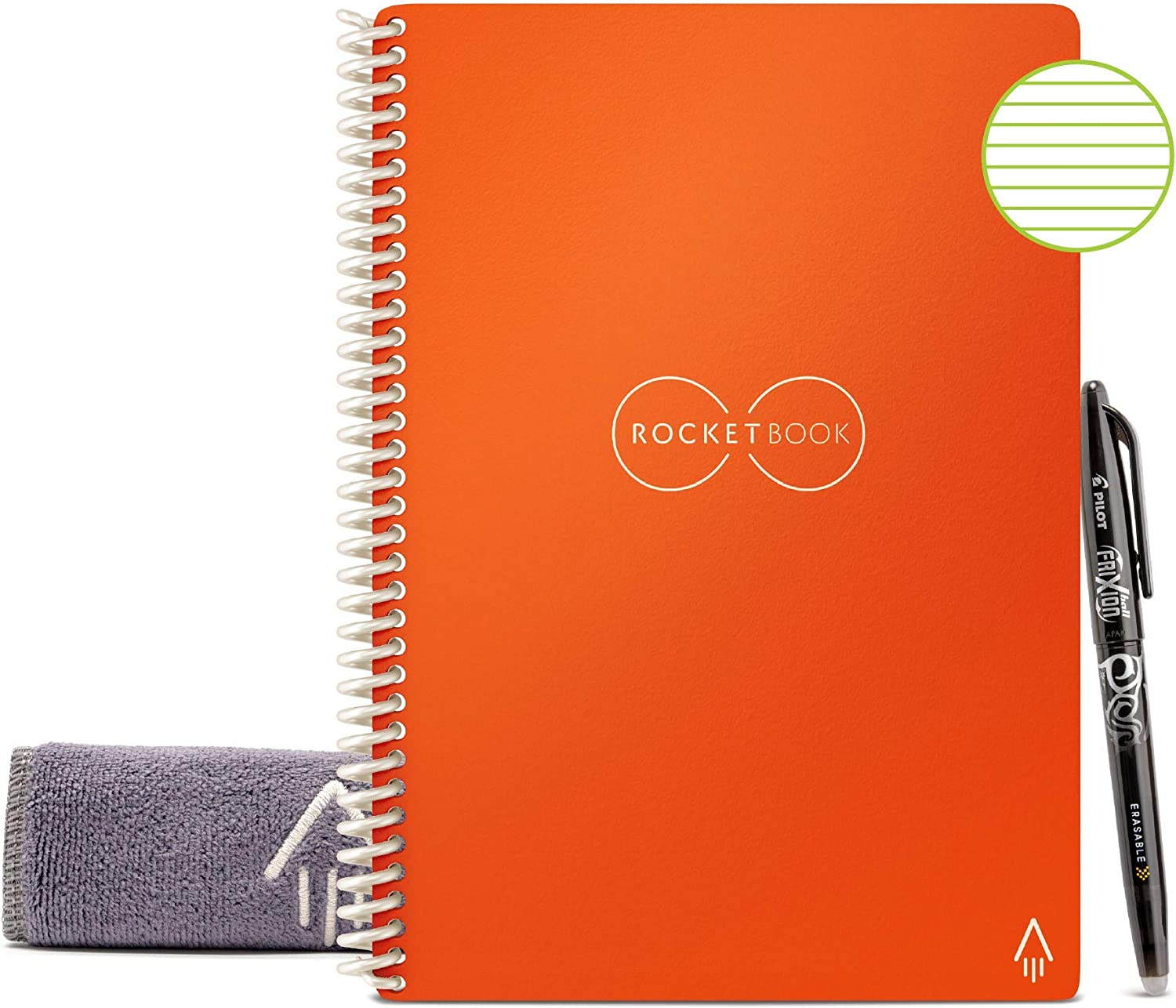 "Rocketbook Smart Reusable Notebook - Lined Eco-Friendly Notebook with 1 Pilot Frixion Pen & 1 Microfiber Cloth Included - Beacon Orange Cover, Executive Size (6"" x 8.8"")"