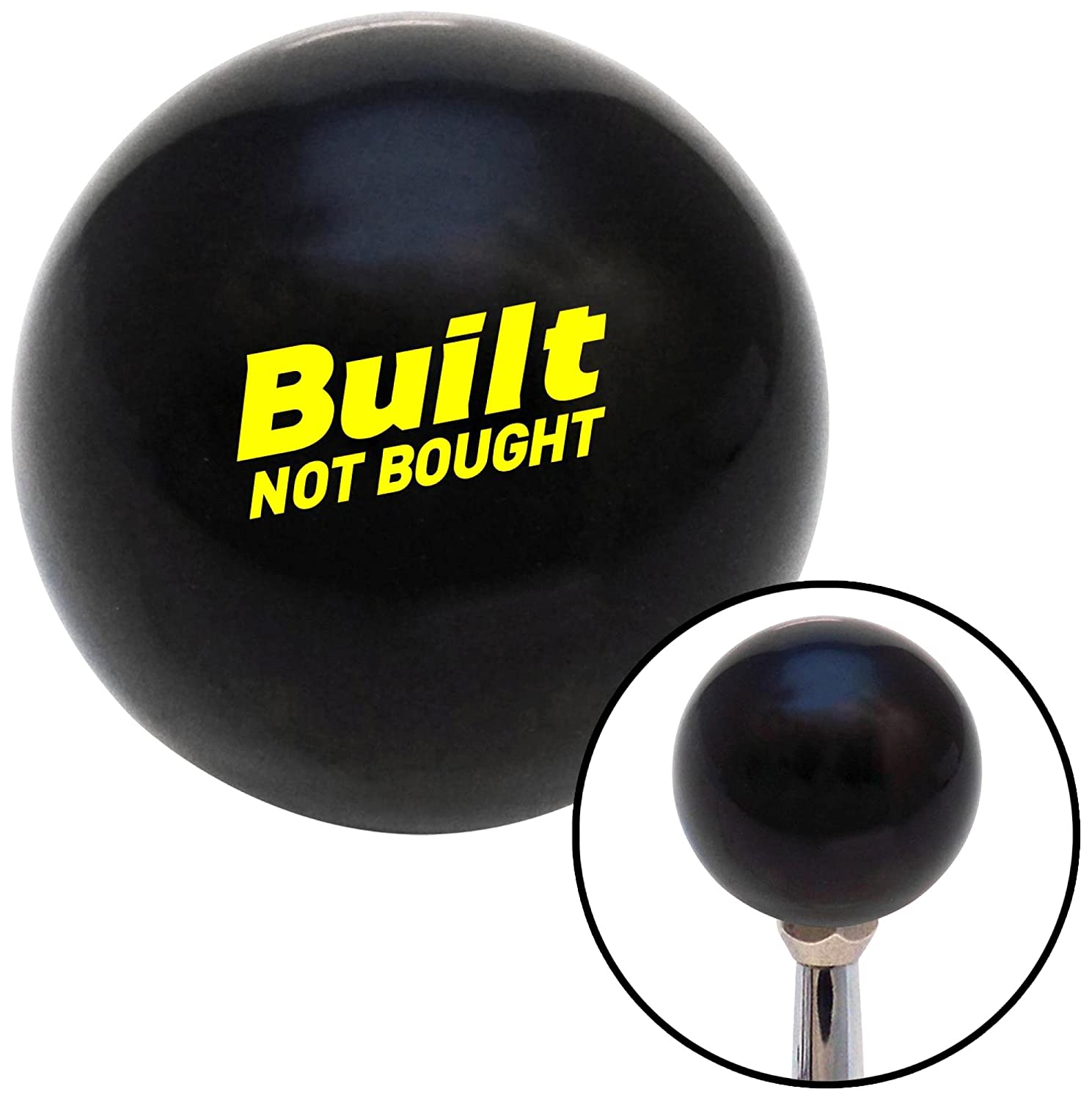 American Shifter 327627 Yellow Built Not Bought Simple Black Shift Knob with M16 x 1.5 Insert