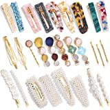 28 PCS Hingwah Pearls and Acrylic Resin Hair Clips, Handmade Hair Barrettes, Marble Alligator bobby pins, Glitter Crystal Geo