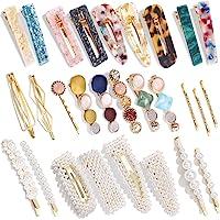 28 PCS Hingwah Pearls and Acrylic Resin Hair Clips, Handmade Hair Barrettes, Marble Alligator bobby pins, Glitter…