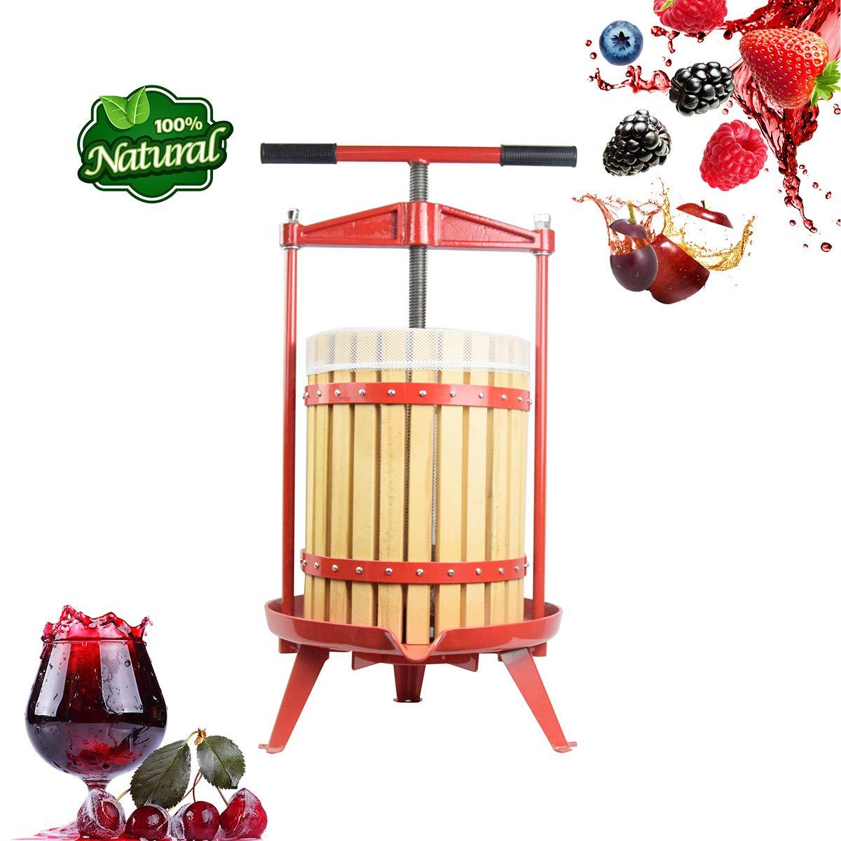 Fruit Wine Cider Press - Solid Wood Basket- 4.75 Gallon/18L-More Stable,Apple Grape Crusher for Juice Maker,Kitchen