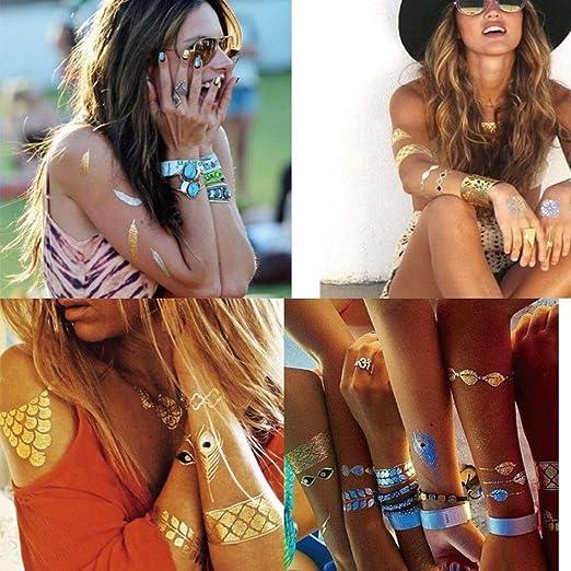 12pcstatouage Ephemere Mujer Metálico encaje tatuaje Dore adhesivo ...