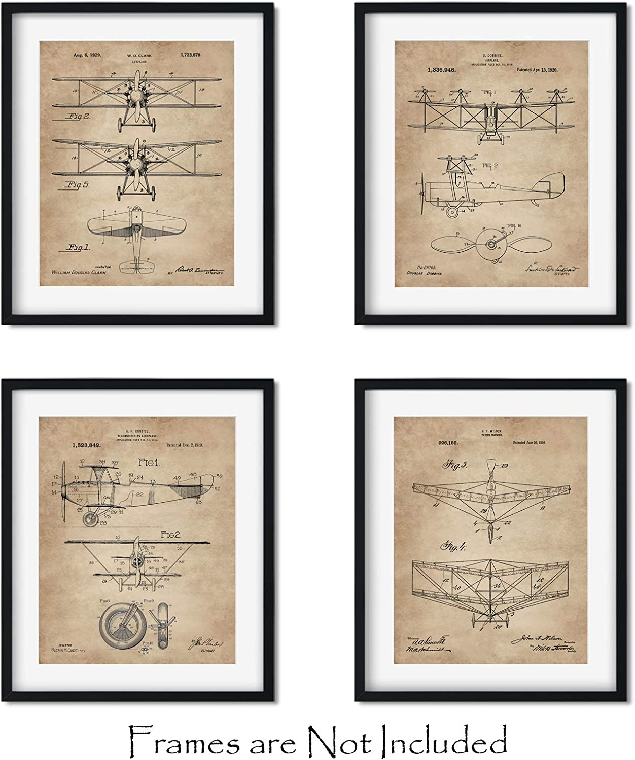 "Vintage Biplanes Patent Wall Art Prints -Set of FOUR 8""x10""- Aviation Gifts for Pilots Bi Plane Airplane Decor"