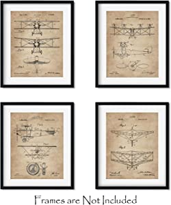 "Vintage Biplanes Patent Wall Art Prints -Set of FOUR 8""x10""- Aviation Gifts for Pilots Bi Plane Airplane Decor"