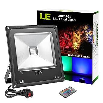 LE Remote Control 30W RGB LED Flood Lights Colour Changing LED Security Light,