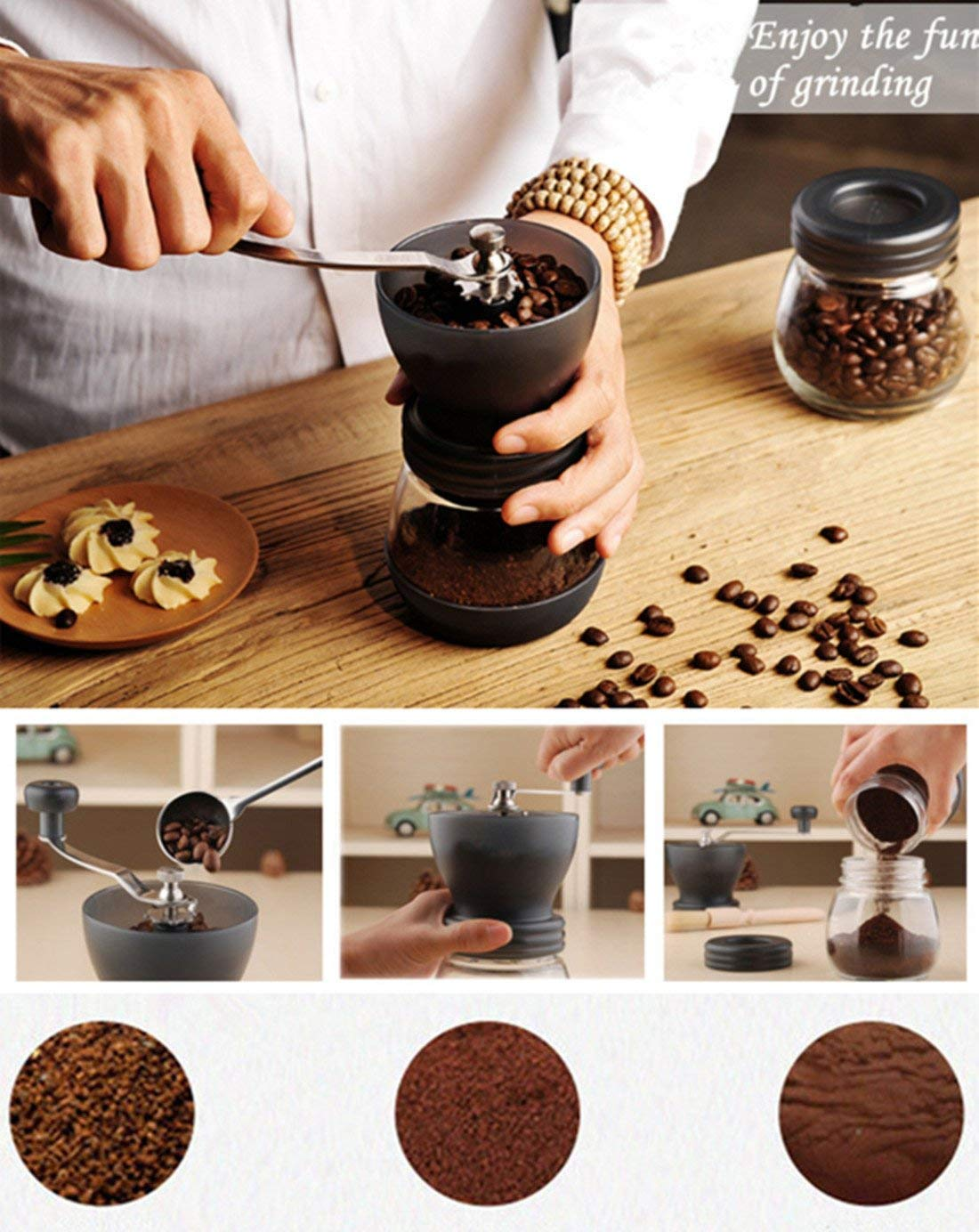 Angker Manual Coffee Grinder Adjustable Ceramic Burr Manual Coffee Grinder with Glass Storage Tank for Espresso//Pour Over//French Press//Turkish Coffee Brewing