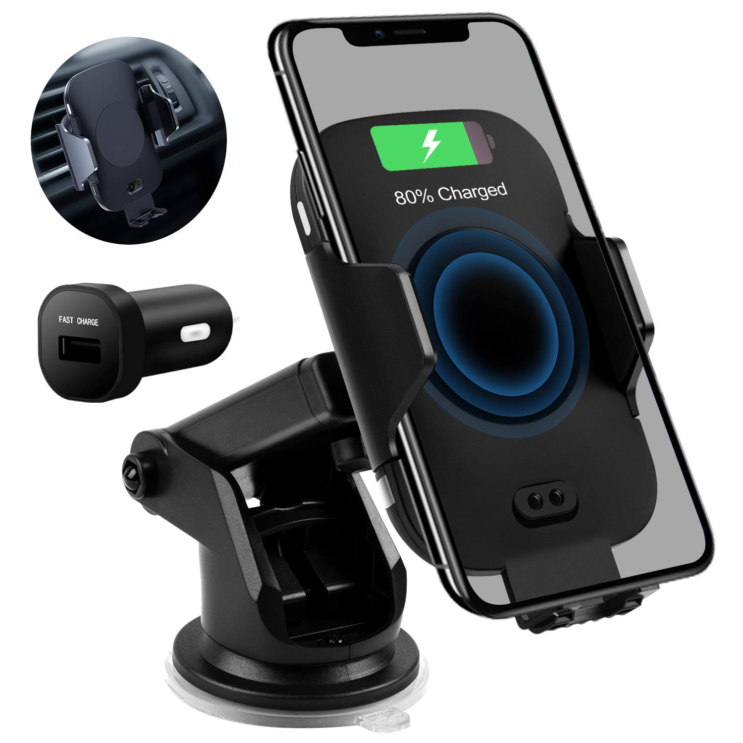 ROSON Wireless Car Charger Mount, 10W Qi Fast Charging Auto Clamping Windshield Dash Air Vent Phone Holder for Car Compatible with iPhone 11 Xs Max XR 8 Plus, Samsung S10 S9 S8 Note 10, LG V30, etc by ROSON