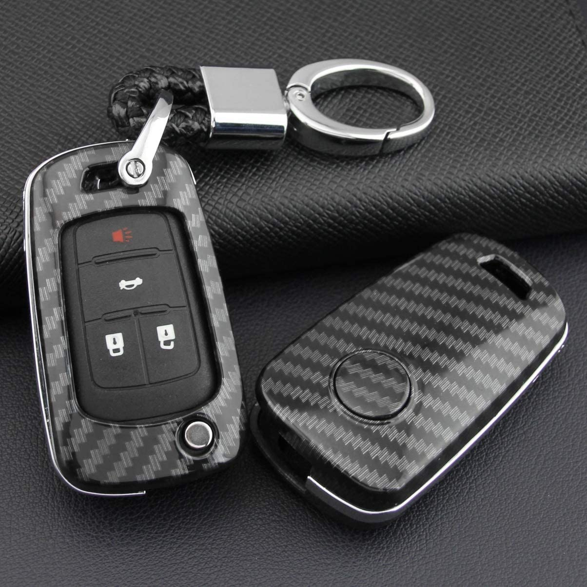 Shell With Keychain ABS Carbon Fibre Car Key Case Car Remote Shell Cover Fit For Chevrolet Cruze//Camaro//Volt Buick LaCrosse//Regal Protector Auto Keychain Car Accessories Decoration