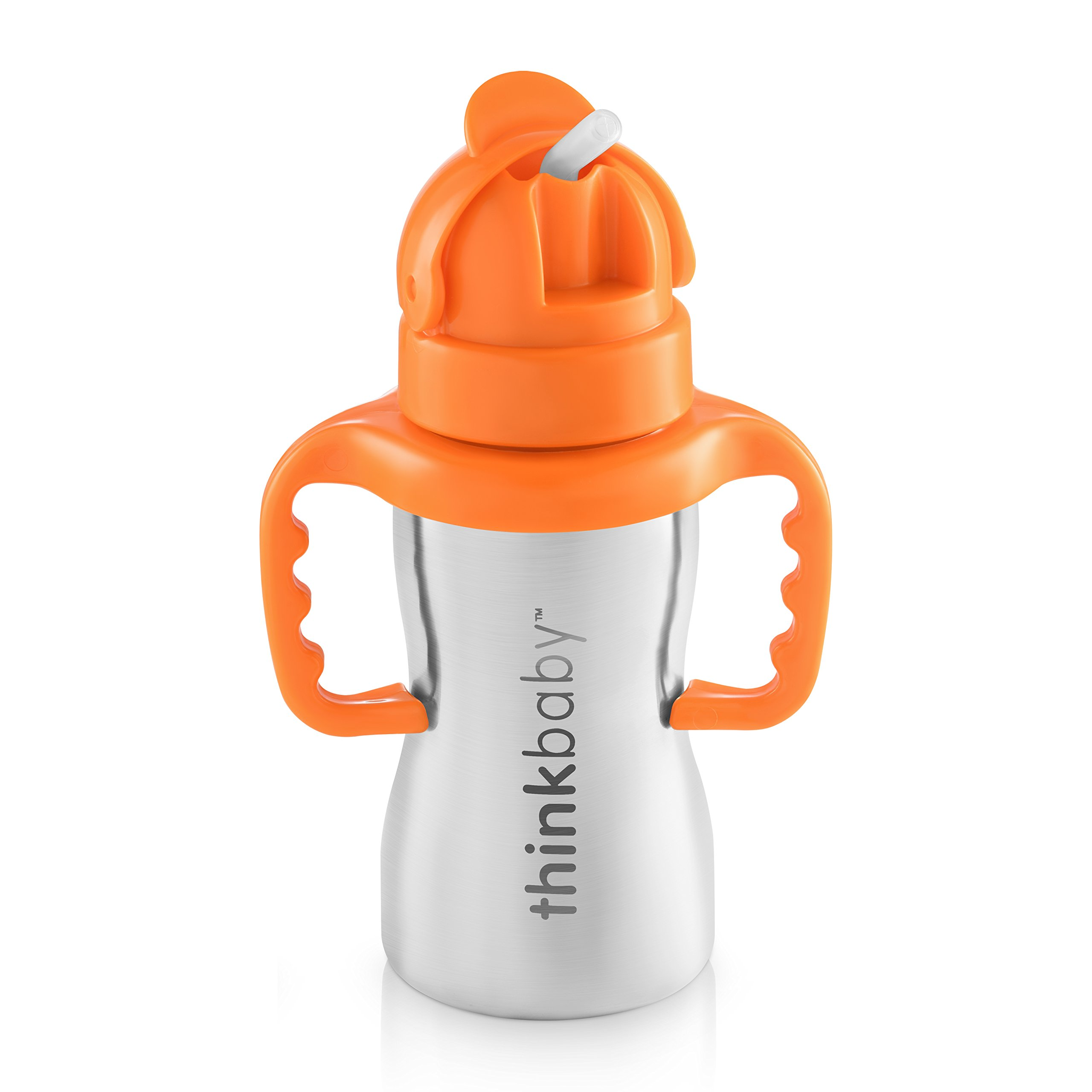 Thinkbaby Stainless Steel Thinkster Bottle, Orange (9 ounce) by Thinkbaby