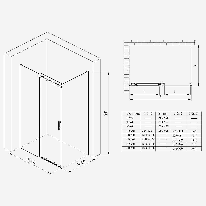 Mai /& Mai Paroi de douche cabine de douche 70x120 avec porte de douche coulissante c/ôt/é gauche verre tremp/é transparent RAV18