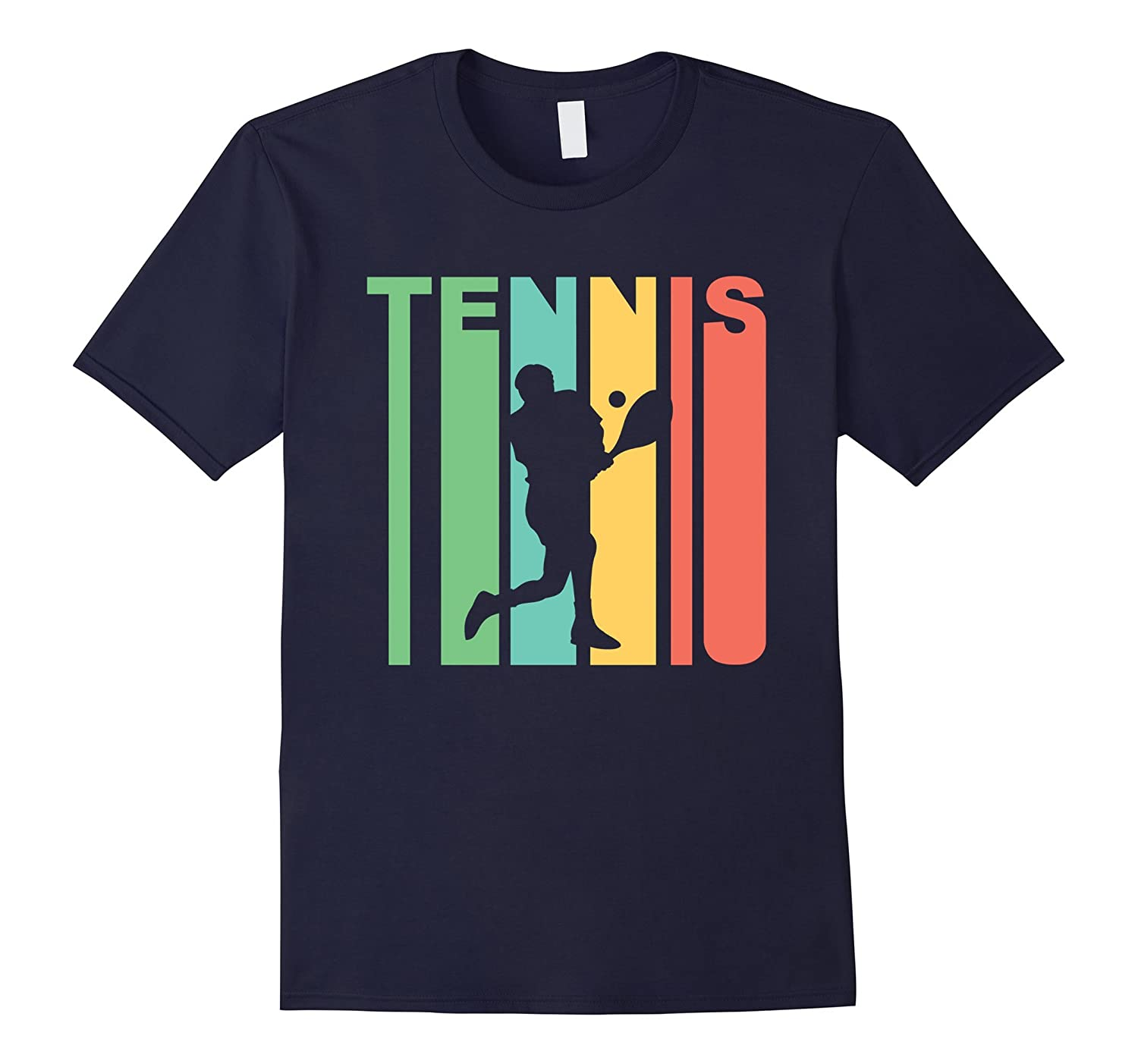 Retro 1970's Style Tennis Player Silhouette Sports T-Shirt-FL