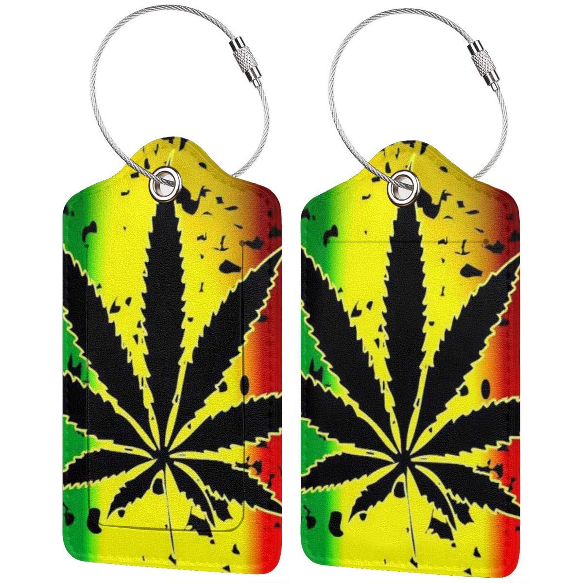 Luggage Tags PU Leather Suitcase Card Tag With Stainless Steel Loop Travel Baggage Handbag Tag Labels Travel Accessories Marijuana Weed Cannabis Pot Leaf Plant set of 4