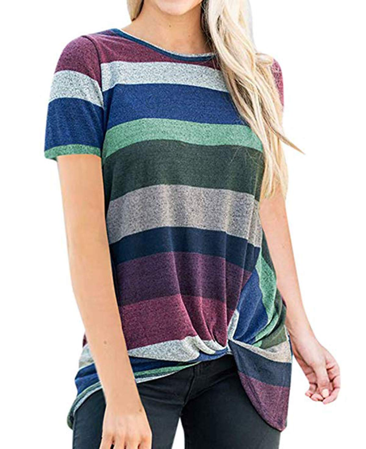 Eanklosco Women's Tops Striped T-Shirts Front Knot Tunic Casual Blouses Short Sleeve (XL/UK 14, Light Purple)