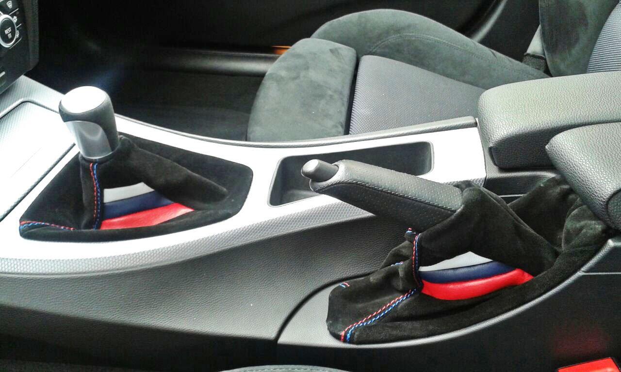 BMW e90 e91 cuffia cambio e freno vera pelle scamosciata Msport